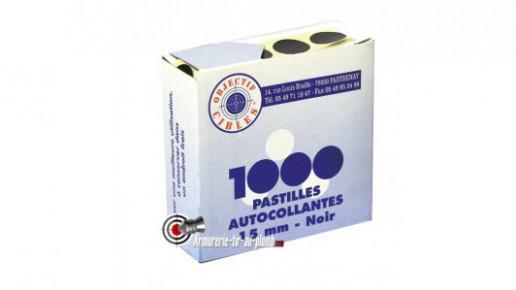 Lot de 1000 pastilles noires 15 mm autocollantes pour cibles