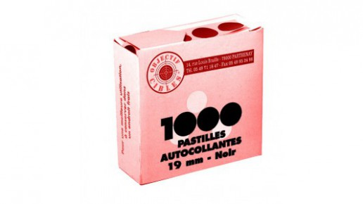 Lot de 1000 pastilles noires 19 mm autocollantes pour cibles