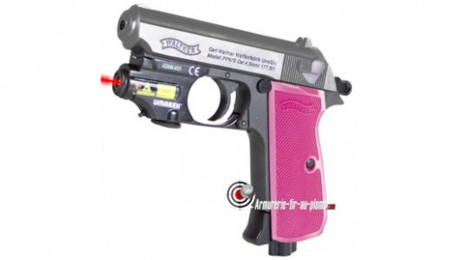 Walther PPK Pink Maiden - Culasse nickel + laser à 1 € supplémentaire