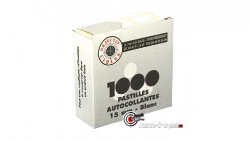 Lot de 1000 pastilles blanches 15mm autocollantes pour cibles
