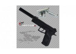 Pistolet CZ P-09 Duty avec silencieux plombs et billes acier