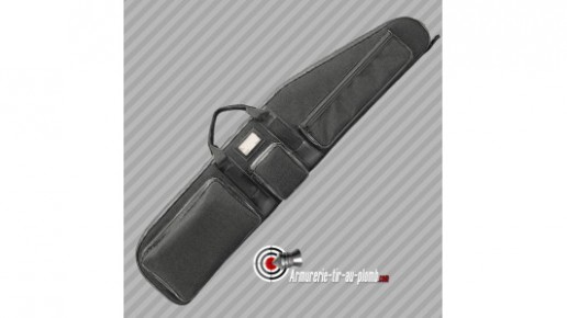 Housse carabine chasse cordura 3 poches noire - 128cm