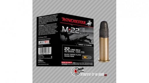 400 cartouches 22LR Winchester M22 tête pleine - munitions 22LR vrac