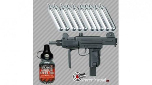 Pack tout équipé pistolet à billes métal Swiss Arms Protector calibre 4.5mm bbs