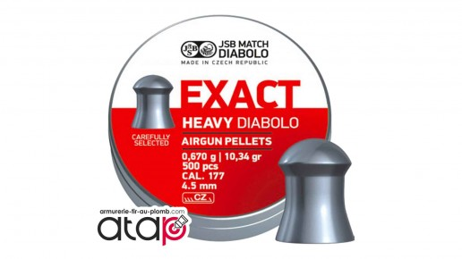 Exact Heavy Diabolo JSB Match Boîte De 500 Munitions Plomb 4,5 mm