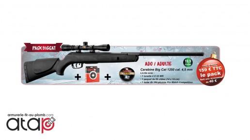 Pack Carabine à plombs Big Cat 1250 Cal.4.5 mm 19.9 J