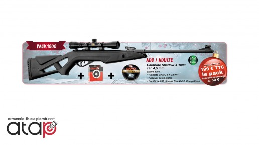 Pack Carabine à plombs shadow X 1000 Cal. 4.5 mm 19.9 J