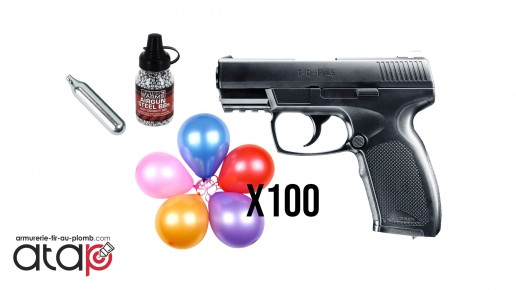 Pack Fun tir Pistolet billes acier 4.5 mm TDP 45 DAO munitions, CO2 et Cibles ballons