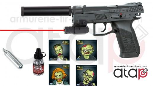Pack Halloween Pistolet à billes d'acier CZ P-07 Duty blowback CO2