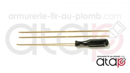 Baguette laiton 3 pièces pour carabine 5.5 mm et sup